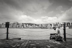 Victoria Harbor,Hong Kong (debbykwong) Tags: victoriaharbor hongkong hongkongcity street urbanlife bnw lifeinblackandwhite candid candidmoment alone finshing hongkongers cityscapes streetshot streetphoto streetphotography blackandwhite leica leicaq leicaqtyp116
