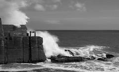 A beautiful day by the sea (lunaryuna) Tags: scotland westernisles outerhebrides lewisandharris isleoflewis portness harbour sea northaltantic waves surf waveaction light lightmood coast seascape lunaryuna blackwhite bw monochrome