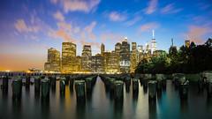 Lower Manhattan Skyline, Blue Magical Hour (Billy K. Chen) Tags: nyc newyork newyorkcity brooklyn manhattan brooklynbridgepark lowermanhattan financialdistrict brooklynheights clouds cloudporn skyline skyscrapers longexposure silhouette sunset magicalhour