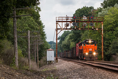 How Sweet the Sight (Jake Branson) Tags: train railroad ble bessemer lake erie orange emd sd382 tunnel motor branchton pa pennsylvania signal searchlight sd38ac sd40t3