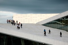 Outside the Oslo Opera House (daniel.virella) Tags: people sky clouds theoslooperahouse oslo norway norge dennorskeoperaballett lundevall snhetta operahuset design architecture taraldlundevall dennorskeopera picmonkey