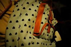 backpack (julietkitz) Tags: school bag backpack hearts teal brown leather warm warmtones