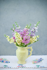 Pastel shades of stocks (photoart33) Tags: flowers stocks stilllife pretty purple yellow pink summer vase vintage