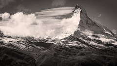 Matterhorn Mono (Origin_AL) Tags: matterhorn zermatt switzerland monochrome blackandwhite bw mountains landscape clouds sky snow ice travel europe widescreen 16x9 d610 sunnegga
