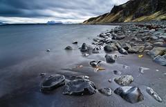 Iceland Mood (Thomas Straubinger) Tags: sea black beach water reflections landscape iceland wasser stones north steine schwarz reflexionen nass