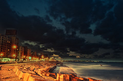 Sporting (Attefable) Tags: sea sky alex alexandria clouds long exposure waves egypt blocks  landsacpe