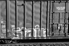 STAIN (QsySue) Tags: railroad blackandwhite postprocessed stain digital train lumix graffiti tag traintracks panasonic soak traincar pointandshoot digitalcamera railroadtracks railroadcar moniker digitalpointandshoot silverefexpro panasoniclumixdmczs8