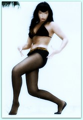 Bettie Page (OFENA1) Tags: stockings hairdo leggy swimwear twopiece