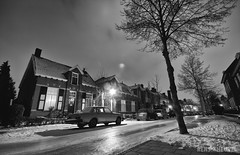 Nightlife (Rens van den Heuvel) Tags: street sky white house snow black cold tree ice lamp car night frost alone snowy eindhoven lamppost icy renzsz