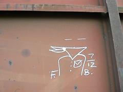 FB 7_12 in corner (httpill) Tags: railroad streetart art train graffiti streak tag graf railcar boxcar bandit streaks railways freight monikers moniker hobotag hobomoniker hoboart benching paintsticks boxcarart oilbars freighttraingraffiti markals freightbandit