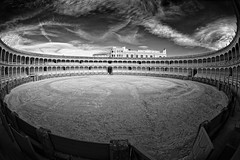 Plaza de Toros Ronda (AllardSchager.com) Tags: winter blackandwhite bw monochrome stone architecture spain sand nikon december zwartwit geometry dramatic arches andalucia fisheye arena rings ronda impact round vista andalusia pillars 1785 vignetting malaga harsh bold bullfighting spanje 2012 zw 1779 extremewideangle bullfightingring plazadetorosderonda andalucie d700 nikond700 nikonfx nikkor16mmf28fisheye allardone allard1 fullframepower allardschagercom oldestinspain