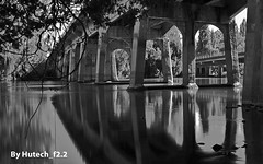 Under the Bridge in Black n White II_edited-1 (Hutech_f2.2 (I'm staying too!)) Tags: morning bridge art creek reflections landscape nikon australia lincoln blacknwhite stillness causeway wodonga