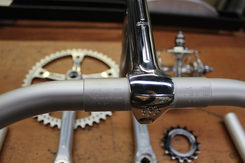 NOS Cinelli Pista bars and milled and drilled stem by Drillium Revival