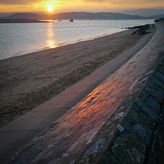 Sunset - Exmouth Seafront (formerly_of_devon) Tags: uk sunset red sea england orange beach yellow sand kitlens panasonic devon g3 exmouth