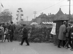 [A ferris wheel during a wartime carnival on the Cambie Street Grounds]