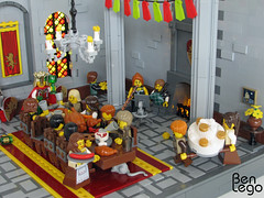 02 (benlego) Tags: red people food woman men castle chicken window yellow statue cake stone dark table carpet mouse fire grey hall chair king floor lego flag contest pillar flags chandelier shield minifig techniques gryffindor 2013 lowlug benlego