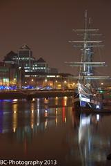 the jeanie johnston ship (Brian Cahill Photography) Tags: ireland dublin reflection water night lights tallship