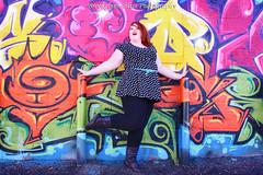 Graffiti can be beautiful (XxBrookelynnBlissxX) Tags: red woman art girl beautiful beauty wall lady painting graffiti ginger belt alley colorful neon dress sam bright head pole poles samantha