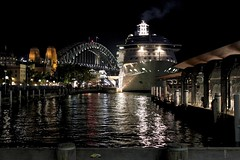 Circular Quay (oxfordblues84) Tags: cruise night evening ship exterior au sydney australia nsw cruiseship newsouthwales sydneyharbour sydneyharbourbridge radianceoftheseas thecoathanger sydneyquay