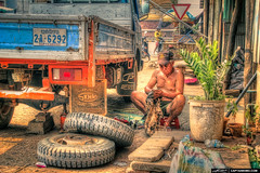 Neighborhood-Mechanic-at-Battambang-Cambodia (Captain Kimo) Tags: travel cambodia culture lifestyle mechanic highdynamicrange photomatixpro hdrphotography singleexposurehdr topazclean topazadjust captainkimo