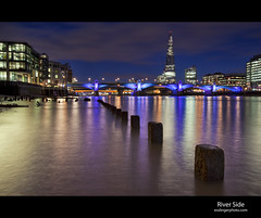 Reflections on the Thames (esslingerphoto.com) Tags: uk longexposure greatbritain bridge blue england reflection london wet water thames architecture night clouds canon reflections river photography eos evening europe exposure cityscape shot nightshot britain capital great architectural single hour gb nightshots mkii esslinger esslingerphotocom