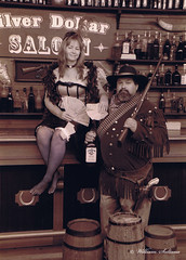 Me and wife (68will) Tags: money girl hat bar drunk pub cowboy wine pistol guns bullets saloon horseshoes jimbeam barral
