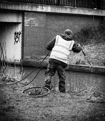 Day 79 - Gone Fishing (Kelmon) Tags: bw man oneaday blackwhite fishing debris cleaning photoaday rubbish pictureaday nuneaton project365 riveranker project36579 project365032013 project36520mar13