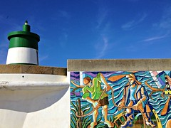 lighthouse & tiles (* Patrcia *) Tags: blue sky lighthouse white color verde green mobile azul fishermen stripes cu tiles riscas farol cor painel azulejos pescadores iphone iphonography iphoneography