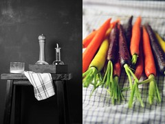 Seasonings and Peeled Carrots (abrowntable) Tags: india cooking kitchen bench recipe healthy rainbow oven furniture indian spice roots cook roast rosemary vegetarian recipes oliveoil fennel seasalt rainbowcarrots ovenroasted