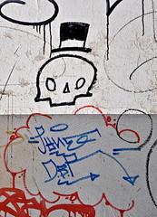 HH-Streetart Miscellaneous 1054 (cmdpirx) Tags: urban streetart color colour art ink painting skeleton fun skull graffiti paint artist character tag hamburg humor can brush spray vandalism marker hh stick bone aerosol tagging farbe slogans spruch skelett knochen schdel strassenkunst sprche