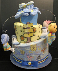 Winnie the Pooh Topsy Turvy Diaper Cake (Sharikay's Kreations (Formerly Shari's Diaper Cake) Tags: topsyturvy diapercake diaper babygift babyshower centerpiece winnie pooh tigger eeyore piglet blankets cake wires
