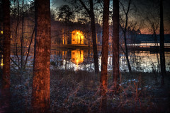 cabin through the woods (gh2010ism) Tags: cabin camping trees woods hunting water lake lights nikon d750 recent