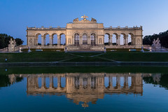 schnbrunn - Vienna (Daniel Mortimer) Tags: water reflection building buildings schnbrunn vienna wien austria europe republik sterreich blue grey old wideangle canon canon7dmarkii sigma twighlight evening statue