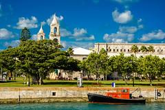 Dockyard (drpavloff) Tags: bermuda dock dockyard church watch tower town boat tug trees sky water atlantic