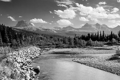 Belly River Crossing (B&W) (Blue Trail Photography) Tags: belly river chief mountain waterton lakes glacier national park canada usa united states alberta montana nature wild wilderness outdoor water sky cloud rocky rockies