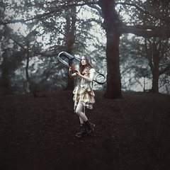 Xenophilia (StephaniePearl ) Tags: dark blood forest conceptual fantasy art fineart xenophobia xenophile racism fascism whitelace surreal surrealism paperclip dreadlocks dreads self selfie selfportrait