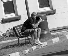 L'attente - The wait (p.franche malade -sick) Tags: bruxelles brussel brussels belgium belgique belge europe pfranche pascalfranche panasonic fz200 hdr dxo flickrelite skancheli monochrome noiretblanc blackandwhite zwart wit blanco negro schwarzweis  inbiancoenero   svartochvitt  mustavalkoinen  bestofbw man homme people urban streetshot bench banc attente waiting snapshot instantan