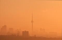 Foggy Morning Sunrise (~EvidencE~) Tags: fog foggy foggysunrise toronto nikon skyline cntower humberbay evidence