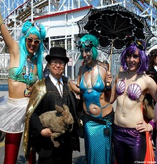 Dr. Takeshi Yamada and Seara (Coney Island Sea Rabbit) at the Mermaid Parade by the Coney Island Beach in Brooklyn, New York on June 18, 2016.  20160618SAT MERMAID PARADE. DSCN6609===0010pC2. (searabbits23) Tags: searabbit seara takeshiyamada  taxidermy roguetaxidermy mart strange cryptozoology uma ufo esp curiosities oddities globalwarming climategate dragon mermaid unicorn art artist alchemy entertainer performer famous sexy playboy bikini fashion vogue goth gothic vampire steampunk barrackobama billclinton billgates sideshow freakshow star king pop god angel celebrity genius amc immortalized tv immortalizer japanese asian mardigras tophat google yahoo bing aol cnn coneyisland brooklyn newyork leonardodavinci damienhirst jeffkoons takashimurakami vangogh pablopicasso salvadordali waltdisney donaldtrump hillaryclinton endangeredspecies parade