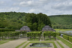 Les platanes et l'orangerie (Flikkersteph -4,000,000 views ,thank you!) Tags: springtime garden waterpool fountain tranquillity landscape nature footpaths reflecting wonderful hills slopes cloudy shadow trees foliage castle hastire wallonia belgium