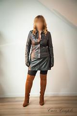 elle280 (Cuir Couple) Tags: cuir leder leather cuero veste jacket jupe skirt pantalon pant hosen mistress maitresse cuissardes matre master bondage bdsm cravache martinet