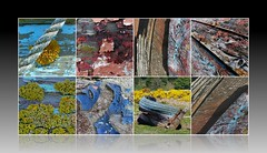 death of a boat (Edinburgh Nette ...) Tags: collages boats wrecks paint decay june16 st cyrus lichens foliose crustose ribbet