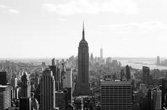 empire (MitchBoudreau) Tags: blackandwhite monochrome skyline outdoor roof skyscraper nyc newyorkcity architecture building city usa film 35mm ilforddelta 50iso summer contrast empire empirestatebuilding topoftheroc manhattan