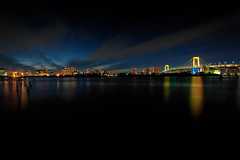 Last Rainbow Bridge Special Light Up (chibitomu) Tags: city bridge sea building water japan canon reflections eos lights tokyo evening twilight cityscape waterfront dusk   odaiba    canonef1740f4lusm 5dmarkii chibitomu