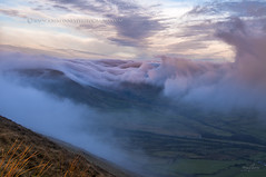 Clouds over Jacobs Ladder (John Finney) Tags: above pink winter sky mist green fog clouds sunrise view peakdistrict pinkclouds swirling edale edalevalley highpeak viewfromabove jacobsladder kinderscout swirlingclouds rushopedge