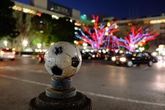 Soccer ball, Urawa 浦和 (JujitsuYasai) Tags: urawa reds urawareds soccer star neon sign illumination street tree streetlight night winter jan japan saitama fujifilm xe1 soccerball 浦和 レッズ サッカー ボール サッカーボール 夜 イルミネーション 冬 駅前 浦和レッズ 街灯 光 灯 電灯 led 浦和駅