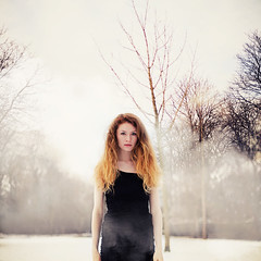 She came out of the fog (Georgina Stokes) Tags: trees winter portrait woman white mist selfportrait snow black cold me girl weather fashion fog mystery self hair outdoors dress fierce steam redhair littleblackdress dipdyed