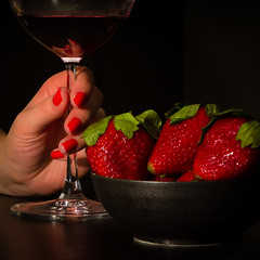 Five Reds (v2) (bonaphoto) Tags: red food glass fruit strawberry hand wine drink finger beverage alcohol manicure fingernail reptition canoneos7d 2470lii