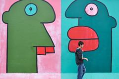 art wall (marin.tomic) Tags: street city travel boy urban abstract berlin art colors germany deutschland nikon colorful europe walk berlinwall eastsidegallery berlinermauer d90