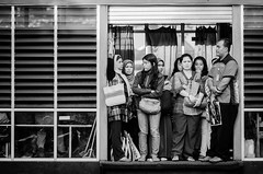 crowded at the bus stop, again (puguhindra) Tags: street people blackandwhite bw men indonesia asian interestingness interesting nikon women flickr candid hijab streetphotography 85mm busstop human transportation nikkor indonesian humaninterest streetshot candidphotography nikkorlens af85mmf14d nikond7000 streetandcandidphotography